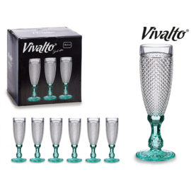 Cava / champagne glas diamant - mintgroen - Afmetingen: Afmetingen 20cm hoog x  6 dia
