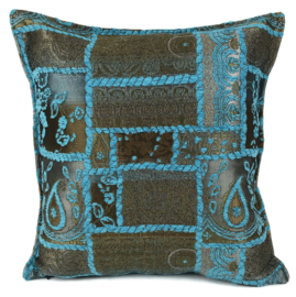 Turquoise kussen - Patchwork brons  ± 45x45cm