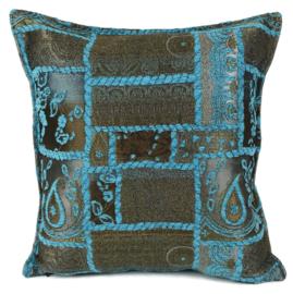 Turquoise kussen - Patchwork brons  ± 45x45cm