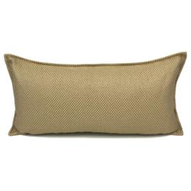 Esperanza Deseo ® kussen - Linnen meubelstof met grote lus - Taupe met okergeel ± 30x60cm