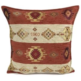 Brick oranje kussen - Aztec stripes ± 45x45cm