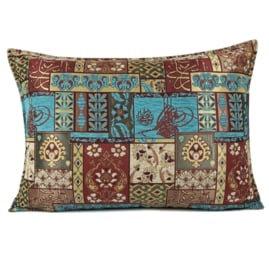 Turquoise kussen - Patchwork rood ± 50x70cm