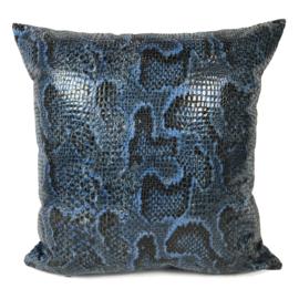 Slangenprint kussen python blauw met zwart ± 45x45cm