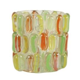 Waxinelichthouder groen/geel/oranje 8,5 cm