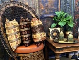 Oker geel en bruin kussen - Aztec ± 45x45cm