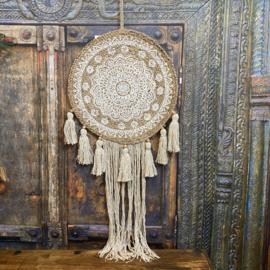 "Wanddecoratie ""jute"" Mandala beige met wit 100cm lang (dia 40cm)"
