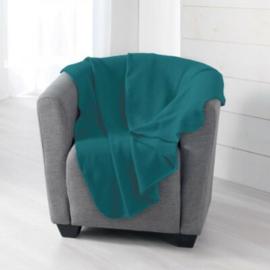 Fleece plaid in de kleur petrol (dun) 150x125cmm