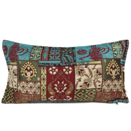 Turquoise kussen - Patchwork rood ± 30x60cm