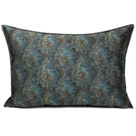 Petrol/turquoise kussen - Marble stone ± 50x70cm