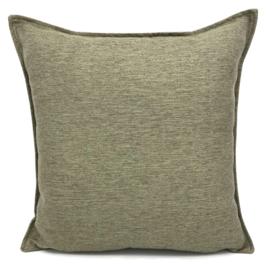 Esperanza Deseo ® kussen - Linnen meubelstof met fijne lus - Taupe met olijfgroen ± 45x45cm