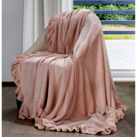 Oud roze fleece plaid met volant 150x200cm