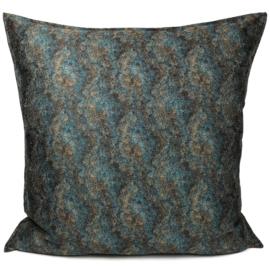 Petrol/turquoise kussen - Marble stone ± 70x70cm