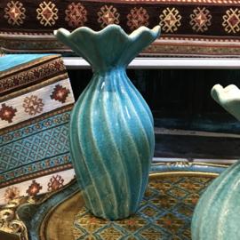 Turquoise keramieke vaas 25,5cm (PTMD)