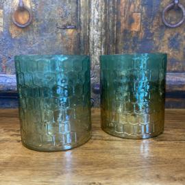 Prachtig windlicht  met honingraad motief turquoise met brons 14 cm PTMD