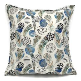 Ivoor kussen - Boho print met mint, bruine en blauwe veren ± 45x45cm