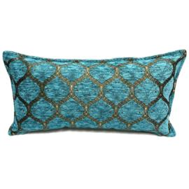 Turquoise kussen - Honingraat met brons ± 30x60cm