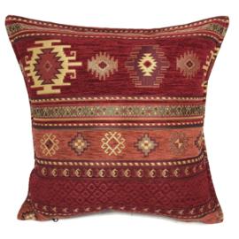 Rood met brick oranje kussen - Aztec ± 45x45cm