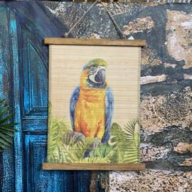 Wandkaart bamboe met Ara papegaai 40x50cm