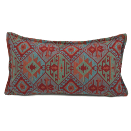 Esperanza Deseo ® kussen - Tribal, turquoise rood oranje mintgroen ± 30x60cm