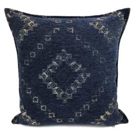 Sierkussen donkerblauw met Kelim print ± 45x45cm