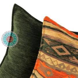 Mediterraan groen oranje oker kussen ± 70x70cm