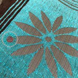 Turquoise kussen - Cirkels bruin 45x45cm