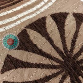 Turquoise kussen - Cirkels metallic taupe  ± 70x70cm