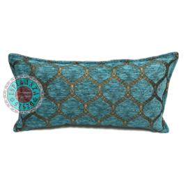 Turquoise kussen - Honingraat ± 30x60cm