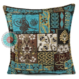 Patchwork turquoise and brown kussen ± 45x45cm