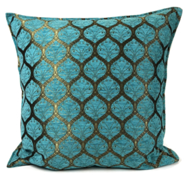 Turquoise kussen - Honingraat met brons patroon ± 70x70cm
