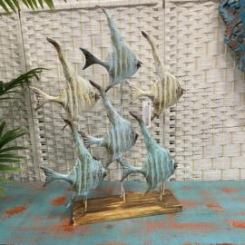 Leuke metalen vis decoratie op standaard 63x42cm