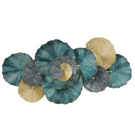 Metalen wanddecoratie bloem petrol, turquoise en goud 91cm x 46cm