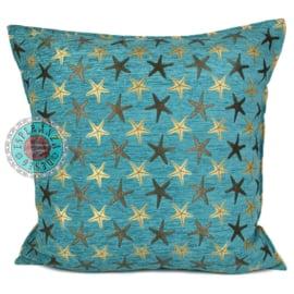 Turquoise kussen - Starfish (zeesterren) ± 70x70cm