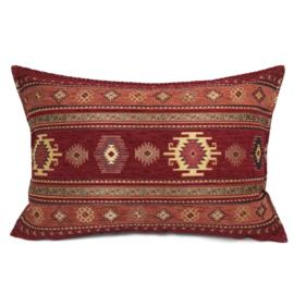 Rood met brick oranje kussen - Aztec ± 50x70cm