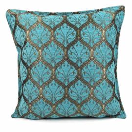 Turquoise kussen - Honingraat met brons ± 45x45cm