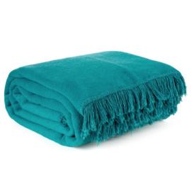 Donker turquoise plaid - bedsprei van 150x200