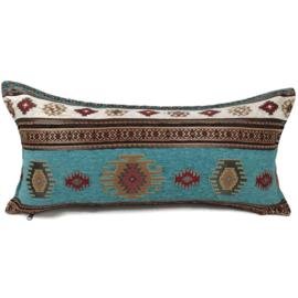 Turquoise kussen - Aztec ± 30x60cm