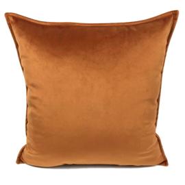 Velvet Cognac oranje kussen passend bij veren/bladeren kussen ± 45x45cm