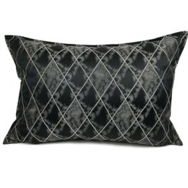 Zwart met grijs kussen - Harlequin ± 50x70cm