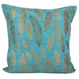 Turquoise kussen - Boho Feathers ± 70x70cm