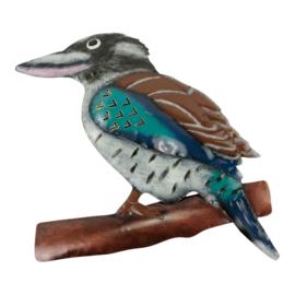 Metalen vogel in de kleuren blauw turquoise wit en bruin 40x33x1 cm