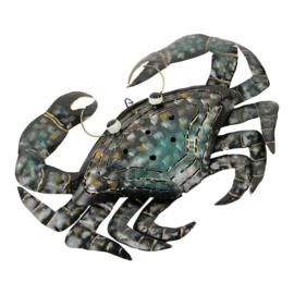 Metalen krab - grijs, turquoise en geel 37x29x4 cm