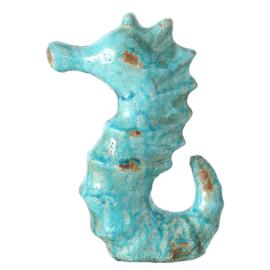Turquoise keramiek Zeepaard 35cm hoog x 23cm breed voor huis of tuin