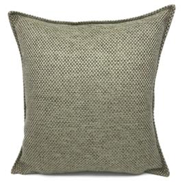 Esperanza Deseo ® kussen - Linnen meubelstof met grote lus - Taupe met olijfgroen ± 45x45cm