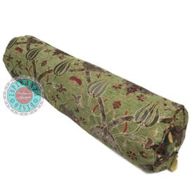 Rolkussen - Flowers olijf groen plus binnenkussen ± 78cm dia 18cm