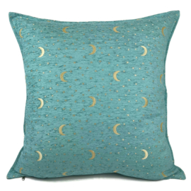 Esperanza Deseo ® kussen - Stars and moons, pastel turquoise ± 70x70cm