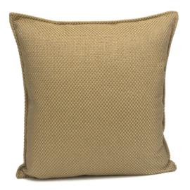 Esperanza Deseo ® kussen - Linnen meubelstof met grote lus - Taupe met okergeel ± 45x45cm