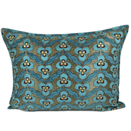 Turquoise kussen - pansy flowers ± 50x70cm