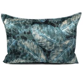 Turquoise kussen met mooie veren/bladeren print  ± 50x70cm
