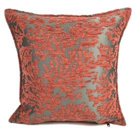 Brick oranje kussen - (Koraal) takken ± 45x45cm